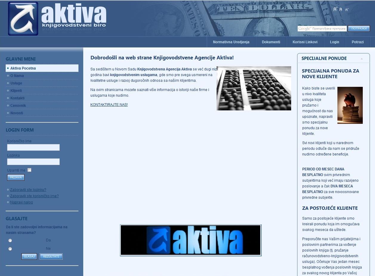 Web Dizajn za Aktiva Knjigovodstveni Biro
