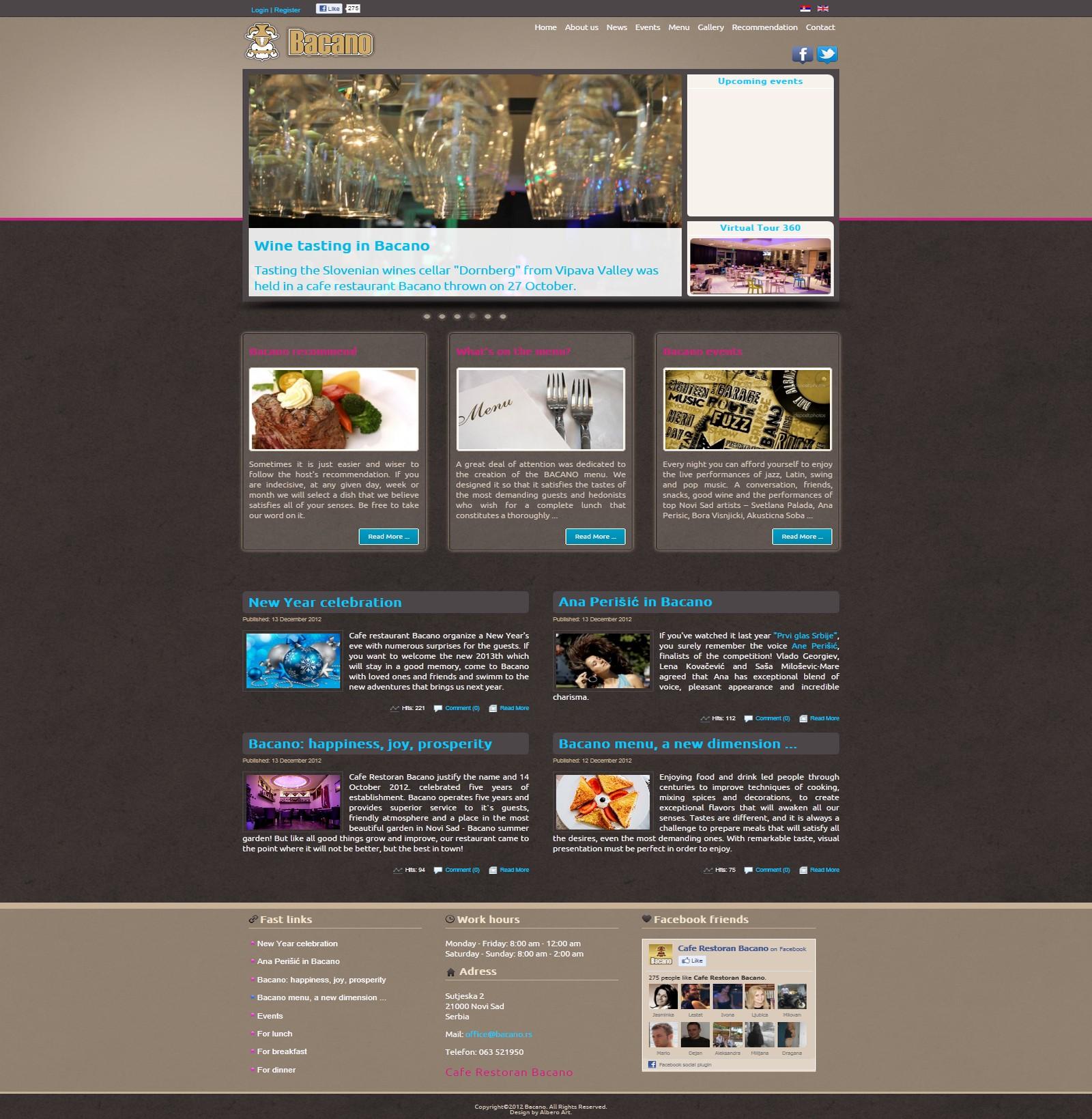 Web Dizajn za Bacano Kafe Restoran